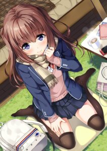 Rating: Safe Score: 101 Tags: seifuku sweater thighhighs unasaka User: Ricetaffy