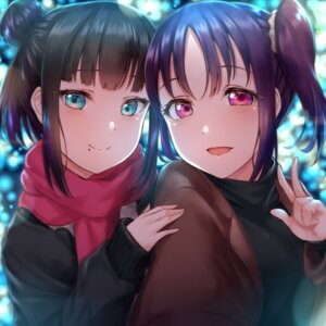 Rating: Safe Score: 14 Tags: kazuno_sarah kurosawa_dia love_live!_sunshine!! rama_(yu-light8) sweater User: Dreista
