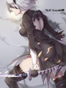 Rating: Safe Score: 19 Tags: dress esasutaku nier_automata sword thighhighs yorha_no.2_type_b User: mash