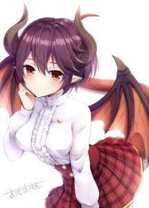 Rating: Safe Score: 30 Tags: grea_(shingeki_no_bahamut) horns omoomomo pointy_ears shingeki_no_bahamut skirt_lift tail wings User: BattlequeenYume