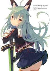 Rating: Questionable Score: 33 Tags: animal_ears nibiiro_shizuka skirt_lift sword thighhighs uniform User: Radioactive