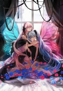 Rating: Safe Score: 34 Tags: dress hahahamu hatsune_miku magnet_(vocaloid) megurine_luka vocaloid wings User: Romio88