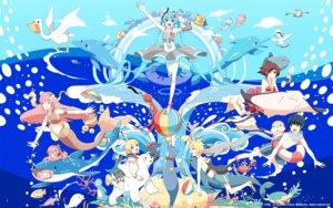 Rating: Safe Score: 15 Tags: bikini chamooi hatsune_miku kagamine_len kagamine_rin kaito megurine_luka meiko mermaid seifuku swimsuits vocaloid wallpaper User: aihost
