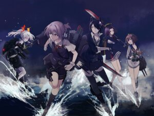 Rating: Safe Score: 32 Tags: bike_shorts eyepatch harano kantai_collection seifuku shiranui_(kancolle) tatsuta_(kancolle) tenryuu_(kancolle) thighhighs weapon yukikaze_(kancolle) User: Radioactive