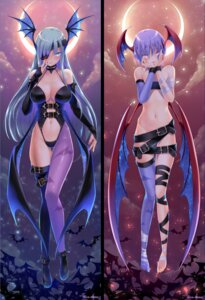 Rating: Questionable Score: 86 Tags: 108_gou cleavage dakimakura dark_stalkers eyepatch lilith_aensland morrigan_aensland no_bra thighhighs wings User: Mr_GT