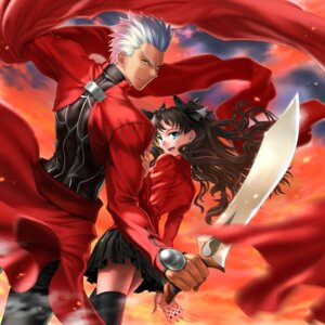 Rating: Safe Score: 18 Tags: archer fate/stay_night fate/stay_night_unlimited_blade_works mashima_misuzu sword thighhighs toosaka_rin User: Mr_GT