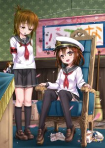 Rating: Safe Score: 42 Tags: gotou_hisashi ikazuchi_(kancolle) inazuma_(kancolle) kantai_collection seifuku thighhighs User: Radioactive