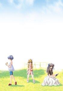 Rating: Safe Score: 7 Tags: air dress heels hinoue_itaru kamio_misuzu key kirishima_kano landscape skirt_lift toono_minagi User: marechal