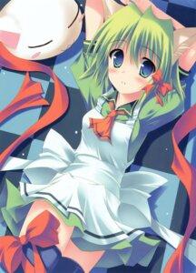 Rating: Safe Score: 22 Tags: animal_ears greenwood kouzuki_hajime midori nekomimi thighhighs User: midzki