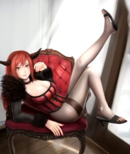 Rating: Questionable Score: 30 Tags: cleavage heels horns maou_(maoyuu_maou_yuusha) maoyuu_maou_yuusha moekyon pantyhose User: sylver650