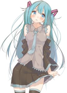 Rating: Safe Score: 63 Tags: hatsune_miku kayahara_(artist) skirt_lift thighhighs vocaloid User: Zenex