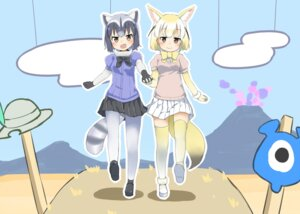 Rating: Safe Score: 30 Tags: animal_ears common_raccoon fennec kemono_friends pantyhose parody sekira_ame tail thighhighs yama_no_susume User: Mr_GT