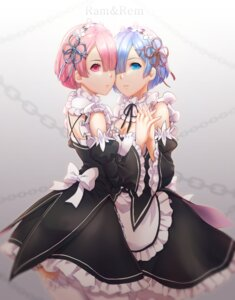 Rating: Safe Score: 18 Tags: cleavage maid ram_(re_zero) re_zero_kara_hajimeru_isekai_seikatsu rem_(re_zero) symmetrical_docking thighhighs y.i._(lave2217) User: charunetra