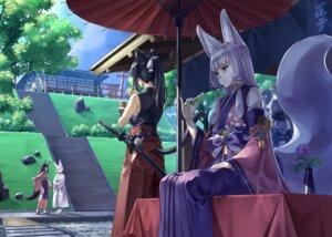 Rating: Safe Score: 16 Tags: animal_ears japanese_clothes kitsune landscape nekomimi seihou sword tail User: Mr_GT