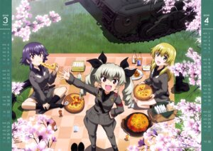 Rating: Safe Score: 22 Tags: anchovy calendar carpaccio girls_und_panzer pepperoni uniform weapon User: drop
