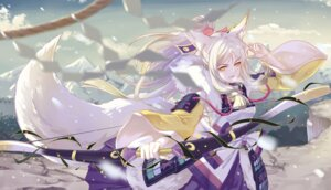 Rating: Safe Score: 18 Tags: animal_ears armor bai_lang japanese_clothes onmyouji shan-n tail weapon User: Noodoll