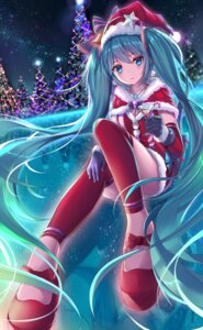 Rating: Safe Score: 60 Tags: christmas cleavage dress hatsune_miku pdx-en thighhighs vocaloid User: Mr_GT