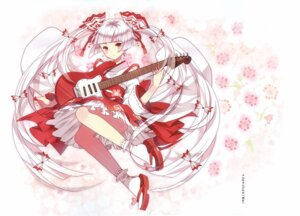 Rating: Questionable Score: 15 Tags: domotolain fujiwara_no_mokou guitar japanese_clothes skirt_lift touhou User: Radioactive