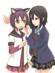 Rating: Safe Score: 14 Tags: animal_ears crossover foge inaba_himeko kokoro_connect nekomimi seifuku yuru_yuri User: Radioactive