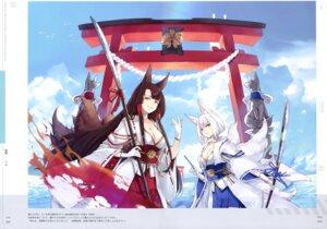 Rating: Safe Score: 13 Tags: akagi_(azur_lane) animal_ears azur_lane cleavage hao_(patinnko) japanese_clothes kaga_(azur_lane) sword tail User: kiyoe