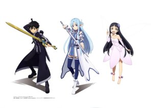 Rating: Safe Score: 31 Tags: alfheim_online asuna_(sword_art_online) dress heels kirito sword sword_art_online thighhighs wings yokota_masafumi yui_(sword_art_online) User: drop