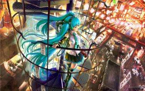 Rating: Safe Score: 22 Tags: hatsune_miku headphones thighhighs vocaloid wallpaper yasumori_zen User: charunetra