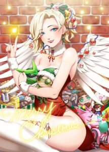 Rating: Safe Score: 22 Tags: chibi christmas cleavage dress mercy_(overwatch) overwatch sumino_akasuke thighhighs wings User: Mr_GT