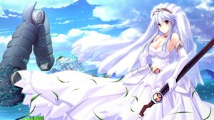 Rating: Safe Score: 38 Tags: cleavage dress game_cg juno_verde skyfish soukyuu_no_soleil sword tsurugi_hagane wedding_dress User: blooregardo