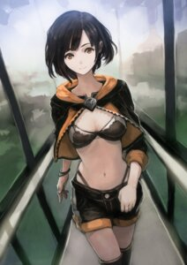 Rating: Questionable Score: 74 Tags: bra cleavage okota pantsu thighhighs thong User: Mr_GT