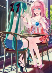 Rating: Safe Score: 99 Tags: bra hatsune_miku megurine_luka okingjo see_through vocaloid User: donicila