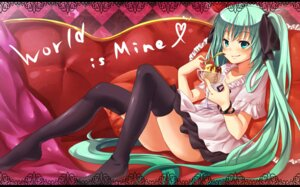 Rating: Safe Score: 30 Tags: hatsune_miku thighhighs vocaloid world_is_mine_(vocaloid) yano_mitsuki User: fairyren