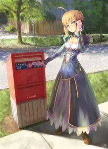 Rating: Safe Score: 47 Tags: autographed cleavage dress fate/stay_night jay_xu saber User: charunetra