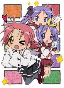Rating: Safe Score: 5 Tags: hiiragi_kagami hiiragi_tsukasa kogami_akira lucky_star pantyhose seifuku User: Elow69