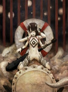 Rating: Questionable Score: 56 Tags: devil horns loli monster_girl naked tattoo toi weapon User: Radioactive