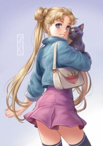 Rating: Safe Score: 19 Tags: kotikomori luna_(sailor_moon) neko sailor_moon skirt_lift thighhighs tsukino_usagi User: BattlequeenYume