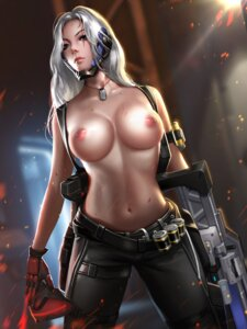 Rating: Questionable Score: 63 Tags: genderswap gun liang_xing nipples overwatch soldier:_76 topless weapon User: BattlequeenYume