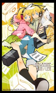Rating: Safe Score: 6 Tags: headphones kagamine_len kagamine_rin l.leaf vocaloid User: fireattack