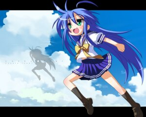 Rating: Safe Score: 9 Tags: izumi_konata lucky_star parody rindouao seifuku toki_wo_kakeru_shoujo wallpaper User: shiokara