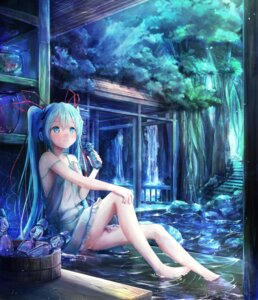 Rating: Safe Score: 37 Tags: hatsune_miku headphones landscape see_through utatanecocoa vocaloid wet wet_clothes User: Nepcoheart