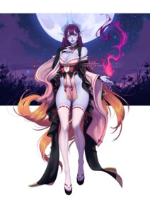 Rating: Safe Score: 14 Tags: horns japanese_clothes nise-loftsteinn no_bra nopan pointy_ears thighhighs User: dick_dickinson