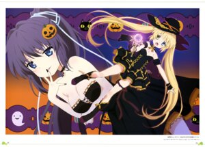 Rating: Questionable Score: 35 Tags: breast_hold cleavage dress garter halloween konohana_lucia nakatsu_shizuru rewrite witch yano_akane User: drop