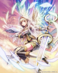 Rating: Safe Score: 75 Tags: anbe_yoshirou deity_wars monster sophia thighhighs weapon wings User: blooregardo