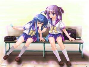 Rating: Safe Score: 15 Tags: hiiragi_kagami izumi_konata kisaragi_miyu lucky_star seifuku wallpaper User: kyoushiro