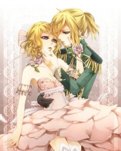 Rating: Safe Score: 10 Tags: cleavage dress kagamine_len kagamine_rin rico_(fbn3) uniform vocaloid User: charunetra
