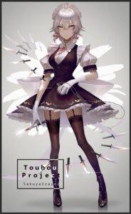 Rating: Safe Score: 24 Tags: eit_(ikeuchi) izayoi_sakuya maid stockings thighhighs touhou weapon User: Mr_GT