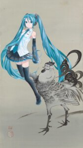 Rating: Safe Score: 19 Tags: hatsune_miku headphones heels tattoo thighhighs vocaloid User: saemonnokami