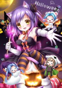 Rating: Questionable Score: 31 Tags: animal_ears chibi dress eyepatch halloween nekomimi shitou tail thighhighs User: 椎名深夏