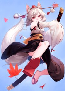 Rating: Safe Score: 40 Tags: animal_ears inubashiri_momiji junwool sword tail touhou User: Mr_GT