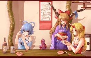 Rating: Safe Score: 33 Tags: cleavage horns hoshiguma_yuugi ibuki_suika kaku_seiga kimono pointy_ears rojiko touhou User: Mr_GT