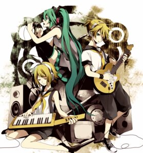Rating: Safe Score: 11 Tags: guitar hatsune_miku kagamine_len kagamine_rin thighhighs vocaloid yuzuki_karu User: Nekotsúh